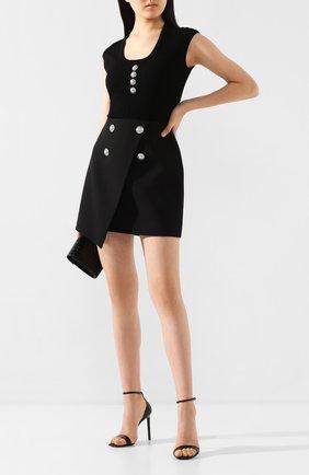 Женская шерстяная юбка BALMAIN черного цвета, арт. TF04059/167L | Фото 2