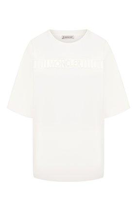 Женская хлопковая футболка MONCLER белого цвета, арт. F1-093-8C751-00-V8102 | Фото 1