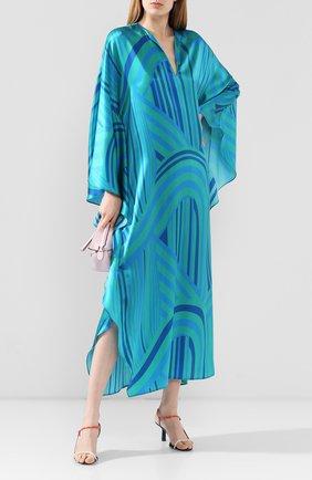 Женское шелковое платье KITON зеленого цвета, арт. D49342K09S92 | Фото 2