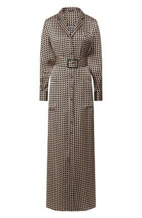 Женское шелковое платье KITON коричневого цвета, арт. D49346K09S75 | Фото 1