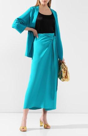 Женская шелковая юбка KITON зеленого цвета, арт. D49217K09S67   Фото 2
