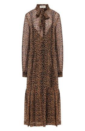 Женское шелковое платье SAINT LAURENT леопардового цвета, арт. 624549/Y372Q | Фото 1