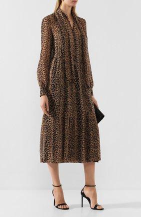 Женское шелковое платье SAINT LAURENT леопардового цвета, арт. 624549/Y372Q | Фото 2