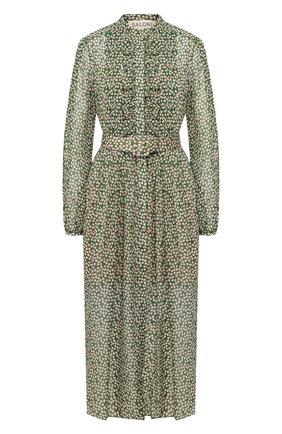 Женское шелковое платье SALONI зеленого цвета, арт. 10197-1421 | Фото 1