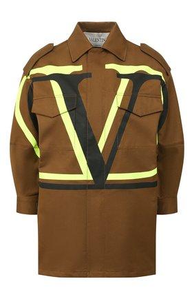 Женская хлопковая куртка VALENTINO хаки цвета, арт. TB0CJ1I52C0 | Фото 1