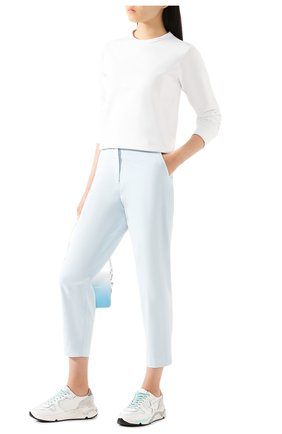 Женские хлопковые брюки TWO WOMEN IN THE WORLD голубого цвета, арт. LAUREN/YEAT3 | Фото 2