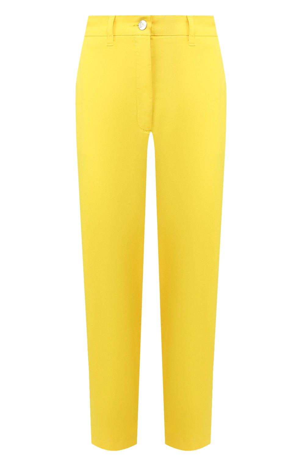 Женские хлопковые брюки TWO WOMEN IN THE WORLD желтого цвета, арт. LAUREN/YEAT3   Фото 1 (Женское Кросс-КТ: Брюки-одежда; Силуэт Ж (брюки и джинсы): Прямые; Материал внешний: Хлопок; Длина (брюки, джинсы): Укороченные)