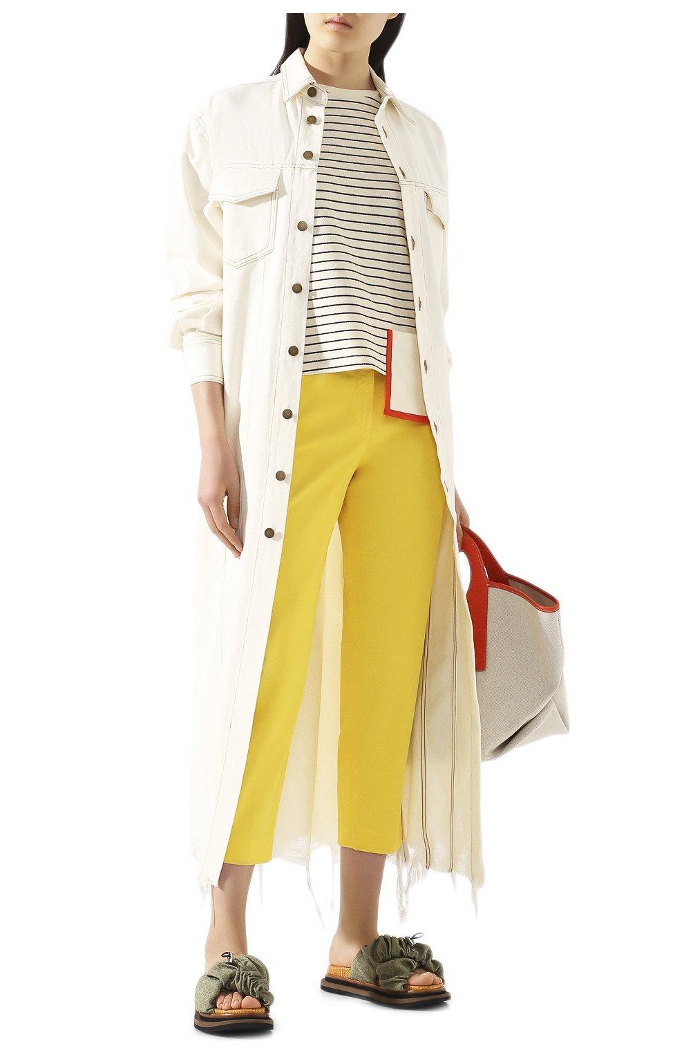 Женские хлопковые брюки TWO WOMEN IN THE WORLD желтого цвета, арт. LAUREN/YEAT3   Фото 2 (Женское Кросс-КТ: Брюки-одежда; Силуэт Ж (брюки и джинсы): Прямые; Материал внешний: Хлопок; Длина (брюки, джинсы): Укороченные)