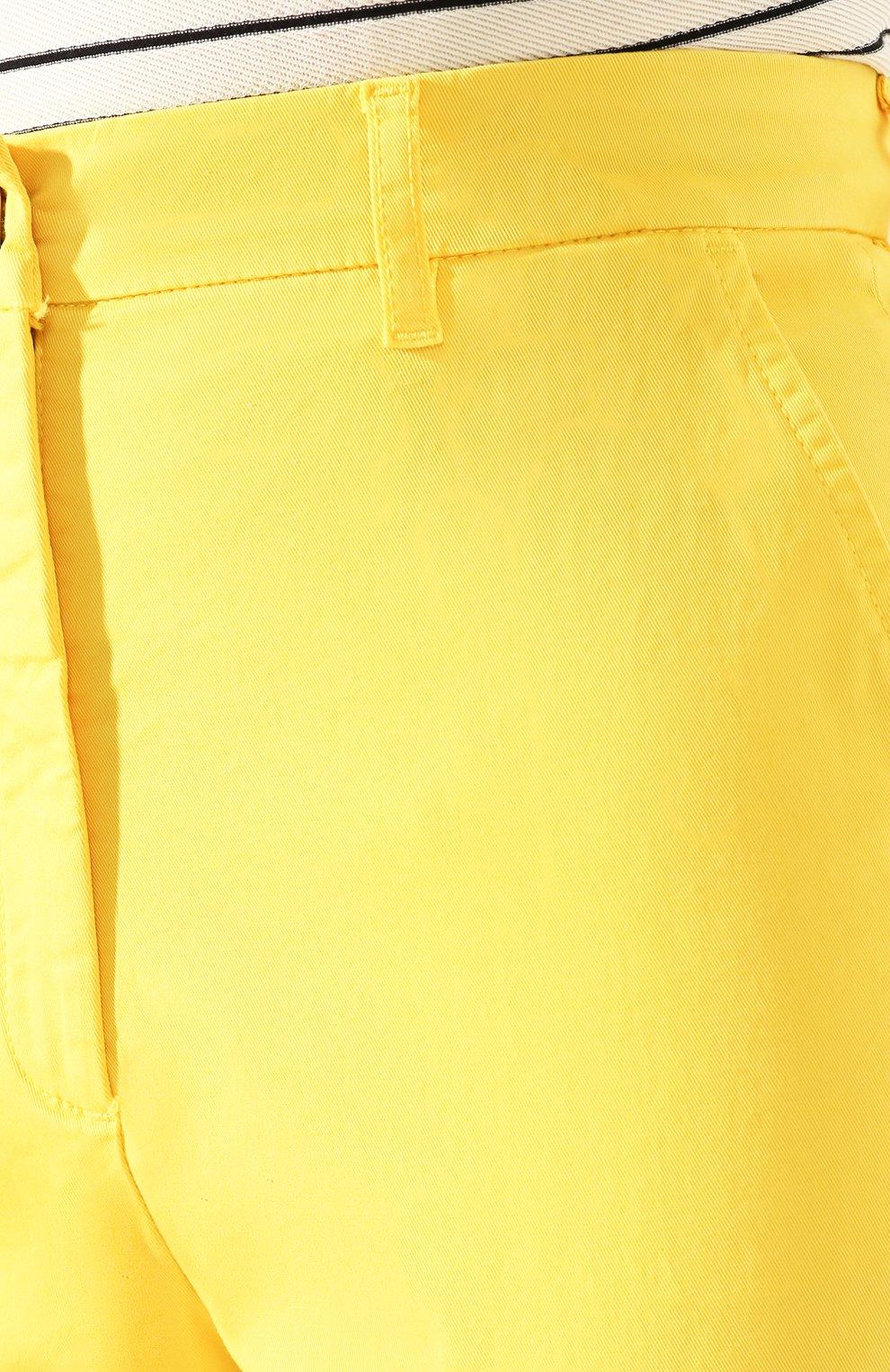 Женские хлопковые брюки TWO WOMEN IN THE WORLD желтого цвета, арт. LAUREN/YEAT3   Фото 5 (Женское Кросс-КТ: Брюки-одежда; Силуэт Ж (брюки и джинсы): Прямые; Материал внешний: Хлопок; Длина (брюки, джинсы): Укороченные)