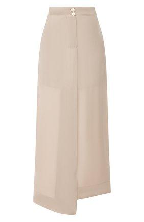 Женская шелковая юбка ISABEL BENENATO бежевого цвета, арт. DW81S20 | Фото 1