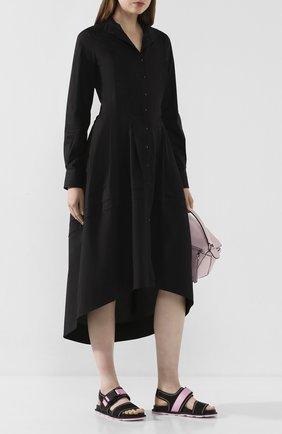 Женское хлопковое платье ISABEL BENENATO черного цвета, арт. DW33S20 | Фото 2