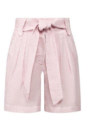 Женские льняные шорты 120% LINO розового цвета, арт. R0W2336/0115/S00   Фото 1