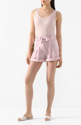 Женские льняные шорты 120% LINO розового цвета, арт. R0W2336/0115/S00   Фото 2