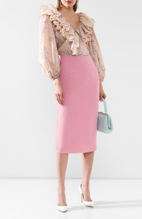 Женская шерстяная юбка ALESSANDRA RICH розового цвета, арт. FAB1817-F2521 | Фото 2