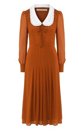 Женское шелковое платье ALESSANDRA RICH коричневого цвета, арт. FAB2000-F2890 | Фото 1