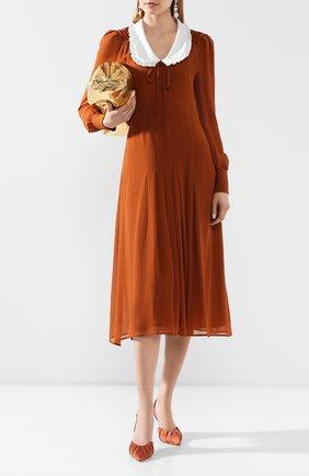 Женское шелковое платье ALESSANDRA RICH коричневого цвета, арт. FAB2000-F2890 | Фото 2