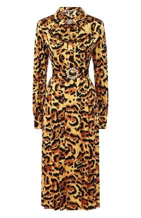 Женское шелковое платье ALESSANDRA RICH леопардового цвета, арт. FAB2026-F2730 | Фото 1
