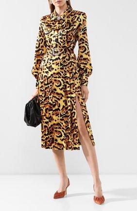 Женское шелковое платье ALESSANDRA RICH леопардового цвета, арт. FAB2026-F2730 | Фото 2