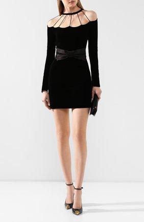 Женское мини-платье ALESSANDRA RICH черного цвета, арт. FAB2061-F2603 | Фото 2