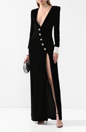 Женское платье-макси ALESSANDRA RICH черного цвета, арт. FAB2084-F2603 | Фото 2