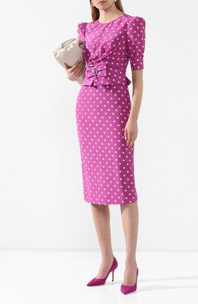 Женское шелковое платье ALESSANDRA RICH сиреневого цвета, арт. FAB2107-F2818 | Фото 2