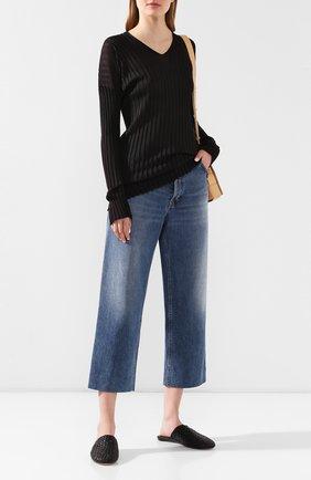 Женские кожаные сабо BOTTEGA VENETA черного цвета, арт. 609281/VBSN0   Фото 2