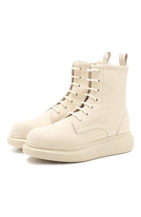 Женские замшевые ботинки ALEXANDER MCQUEEN кремвого цвета, арт. 586394/WHXK1   Фото 1