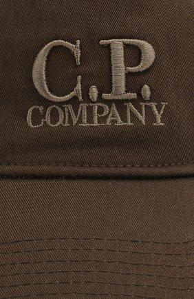 Мужской хлопковая бейсболка C.P. COMPANY хаки цвета, арт. 08CMAC096A-005279A   Фото 3