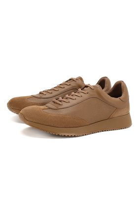 Мужские кожаные кроссовки GIANVITO ROSSI бежевого цвета, арт. S25076.M1CAM.SBFCMCC | Фото 1