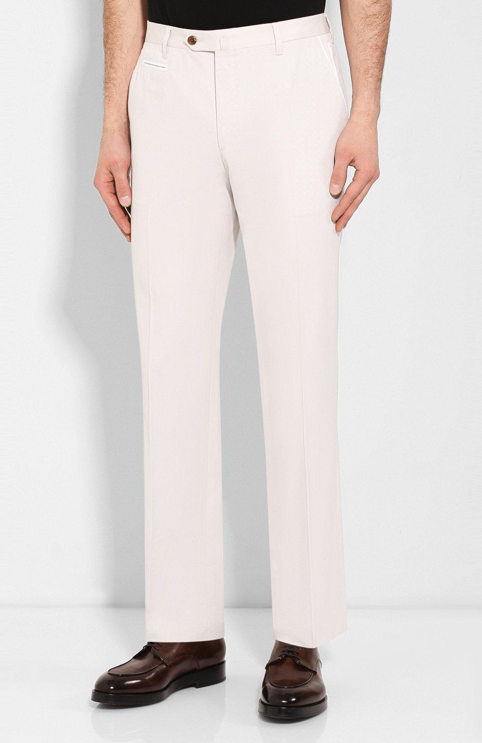 Мужские брюки из смеси хлопка и кашемира CORNELIANI белого цвета, арт. 854203-0114105/02 | Фото 3