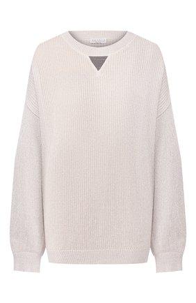 Женская хлопковый пуловер BRUNELLO CUCINELLI серебряного цвета, арт. M74768000   Фото 1