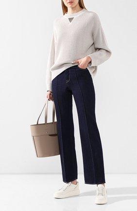 Женская хлопковый пуловер BRUNELLO CUCINELLI серебряного цвета, арт. M74768000   Фото 2