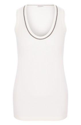 Женская хлопковый топ BRUNELLO CUCINELLI белого цвета, арт. MH974BX220   Фото 1