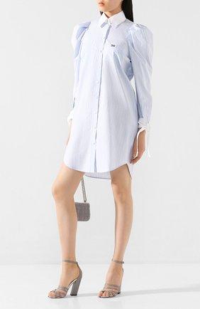 Женское хлопковое платье BURBERRY голубого цвета, арт. 4564552 | Фото 2