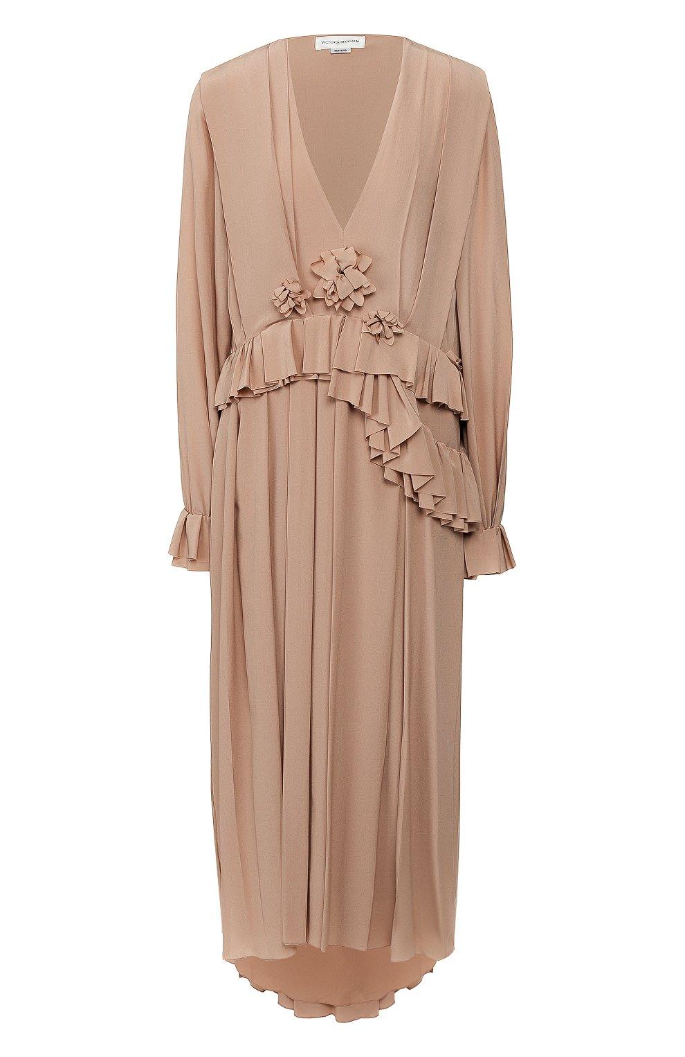 Женское шелковое платье VICTORIA BECKHAM бежевого цвета, арт. 1220WDR001315A | Фото 1