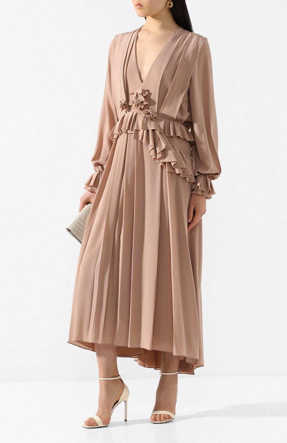 Женское шелковое платье VICTORIA BECKHAM бежевого цвета, арт. 1220WDR001315A | Фото 2