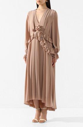 Женское шелковое платье VICTORIA BECKHAM бежевого цвета, арт. 1220WDR001315A | Фото 3