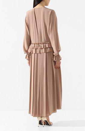 Женское шелковое платье VICTORIA BECKHAM бежевого цвета, арт. 1220WDR001315A | Фото 4