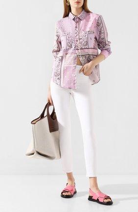 Женская хлопковая рубашка AMIRI сиреневого цвета, арт. Y0W06472PD | Фото 2
