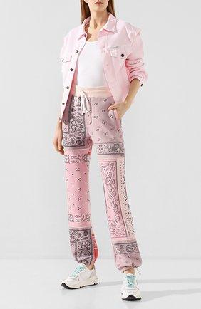 Женские хлопковые брюки AMIRI розового цвета, арт. Y0M09477TE | Фото 2