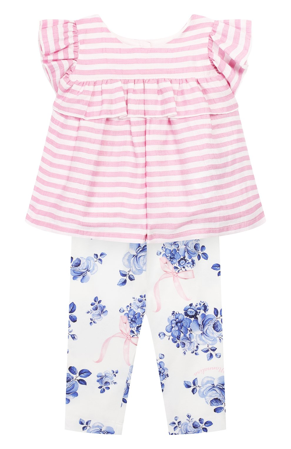 Детский комплект из топа и леггинс MONNALISA розового цвета, арт. 315500 | Фото 1
