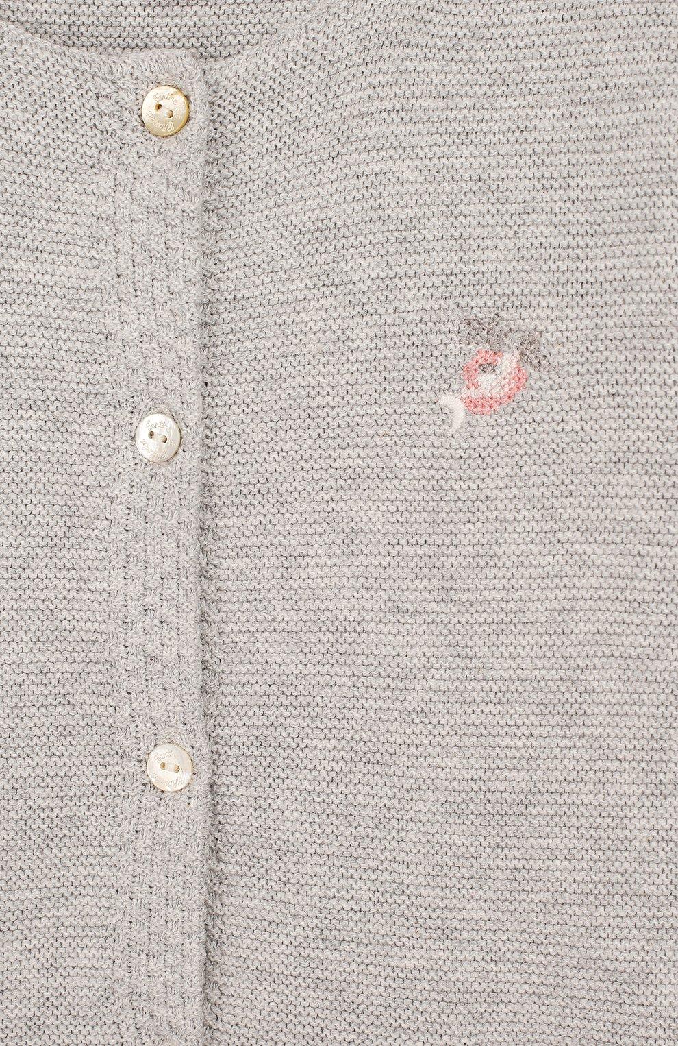 Детский хлопковый кардиган TARTINE ET CHOCOLAT серого цвета, арт. TQ18021/4A-5A | Фото 3 (Рукава: Длинные; Материал внешний: Хлопок)