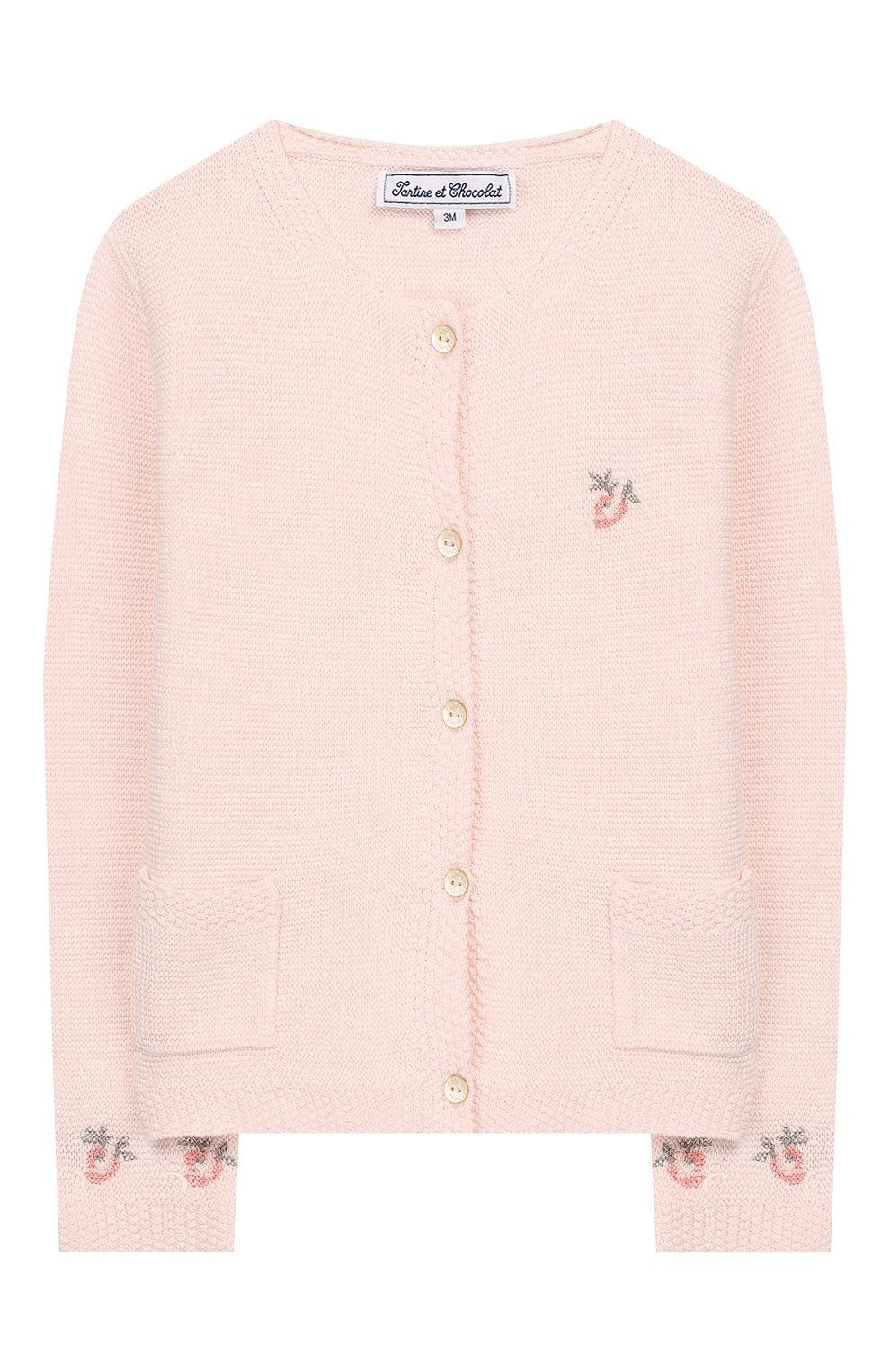 Детский хлопковый кардиган TARTINE ET CHOCOLAT розового цвета, арт. TQ18021/1M-1A   Фото 1 (Рукава: Длинные; Материал внешний: Хлопок)