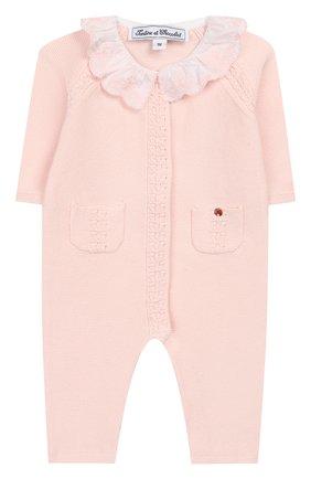 Детский хлопковый комбинезон TARTINE ET CHOCOLAT розового цвета, арт. TQ32001/1M-1A | Фото 1