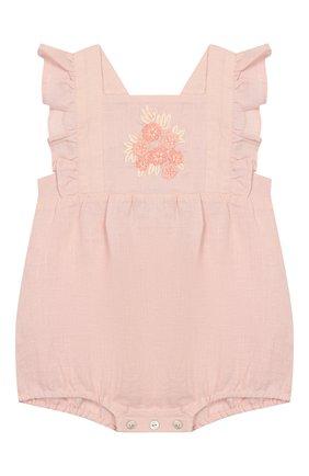Детское льняной комбинезон TARTINE ET CHOCOLAT светло-розового цвета, арт. TQ33001/1M-1A | Фото 1