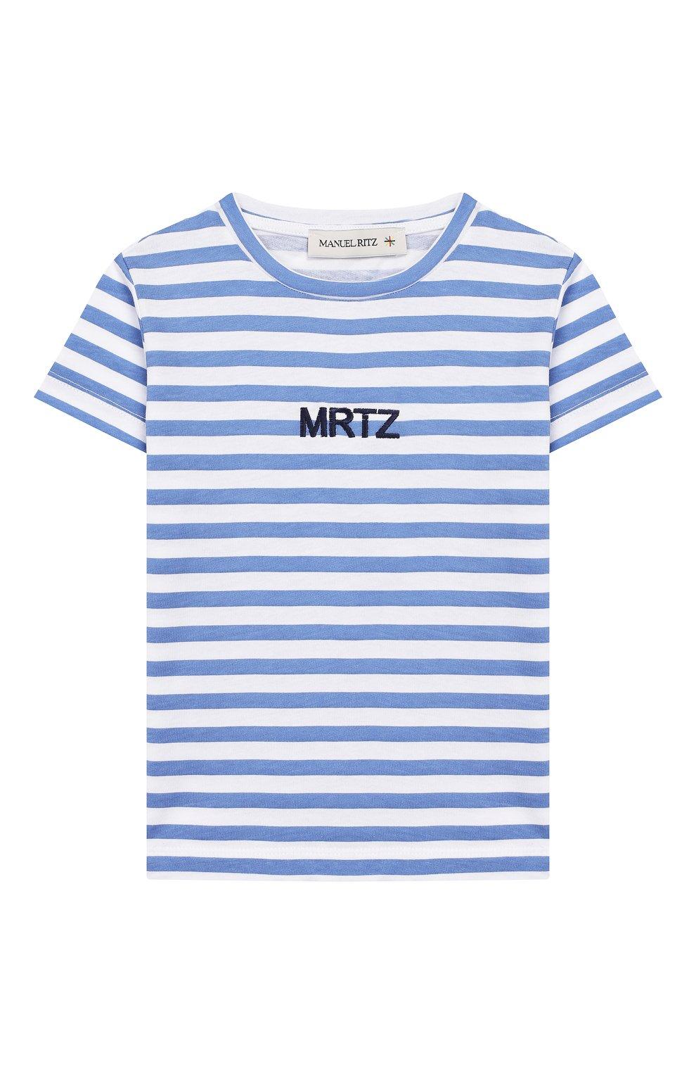 Детская хлопковая футболка MANUEL RITZ голубого цвета, арт. MR1022/2A-6A   Фото 1