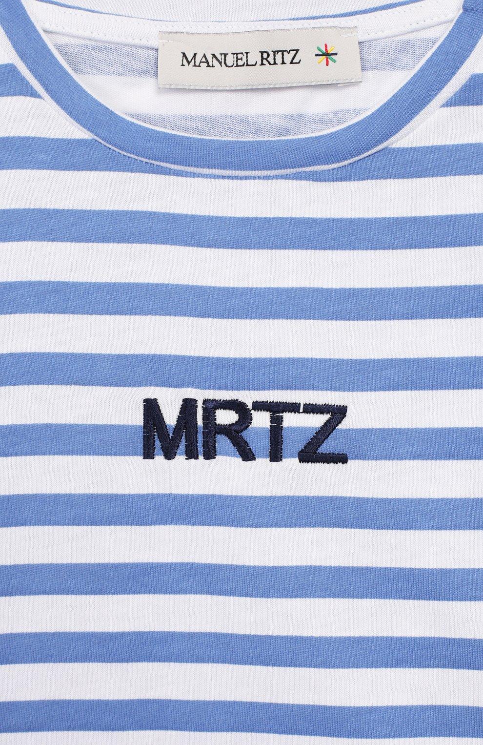 Детская хлопковая футболка MANUEL RITZ голубого цвета, арт. MR1022/2A-6A   Фото 3