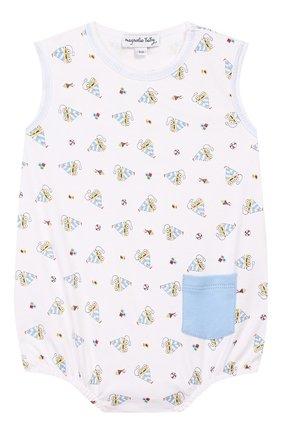 Детское хлопковое боди MAGNOLIA BABY голубого цвета, арт. 837-290P-LB | Фото 1