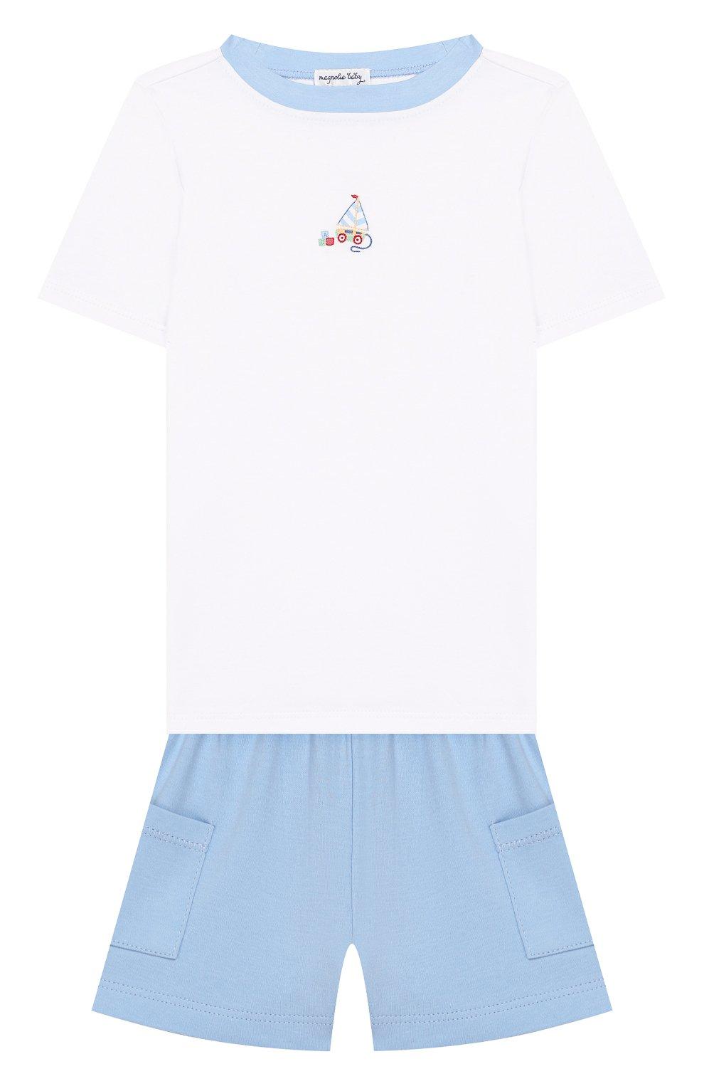 Детский хлопковая пижама MAGNOLIA BABY голубого цвета, арт. 837-102-LB | Фото 1 (Рукава: Короткие; Материал внешний: Хлопок)