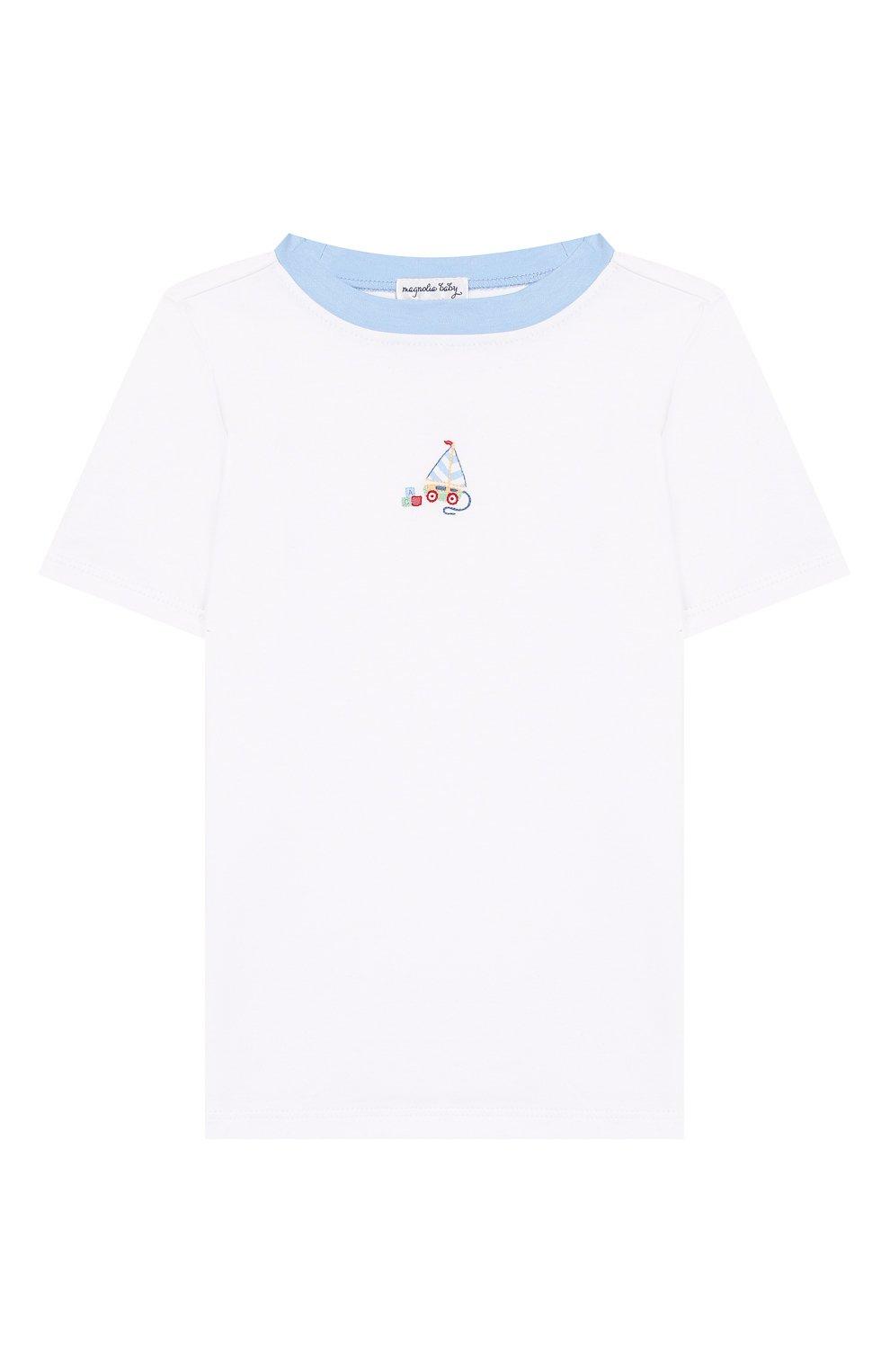 Детский хлопковая пижама MAGNOLIA BABY голубого цвета, арт. 837-102-LB | Фото 2 (Рукава: Короткие; Материал внешний: Хлопок)
